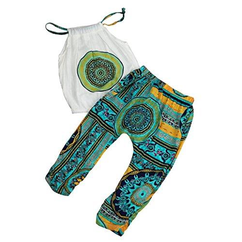 ng Neugeborenes Junge Mädchen T-shirt Tops + Hosen Sommer Strand Outfits Kleidung Set Blumen Shorts Stirnband Tops Beiläufig Kleidung Outfit Set LMMVP (Grün, 140 (6/7T)) (Kinder Kostüme Online)