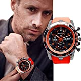 Transer Mode en acier inoxydable de luxe Sport Quartz Analogique Moderne Hommes Mode montre-bracelet Noir (Rouge)