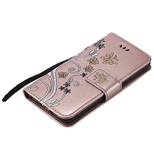 EUWLY Case Cover per iPhone 6 Plus/iPhone 6s Plus (5.5) Custodia Portafoglio PU Pelle Farfalle e Fiori Colore Solido PU Leather Wallet Cover Lanyard Protective Portafoglio Case Cover Internamente Sil Oro Rosa