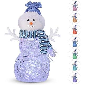 Decoración de muñeco de nieve – Brillante muñeco de nieve – Mini estatua de acrílico LED para interiores conjunto de renos de muñeco de nieve de Santa Claus