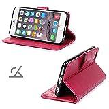 iPhone 6s Handyhülle KASOS Case für iPhone 6 Flip Case Ledertasche Schutzhülle Leder Huelle Stand Halter Magnetverschluss Schmetterling Blumen ,Rose Red + Schutzfolie + Staubschutz + Eingabestift -