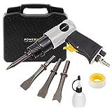 Powerplus Drucklufthammer 6,2 bar pneumatischer Hammer + 4 Meißel im Koffer