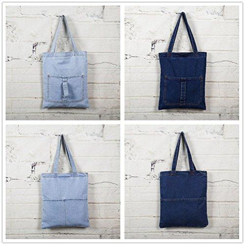 Yiuswoy Freizeit Denim Tasche Handtasche Strand Taschen Shopper Umhängetasche Retro College Schule Tasche Für Mädchen Damen - Dunkel Blau 1 Tasche Licht Blau 1 Tasche