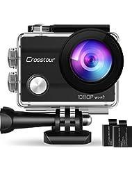 """Crosstour Action Cam, Sport WiFi Camera 1080P 2""""LCD Full HD Impermeabile 2 Batterie 1050mAh 170°Grandangolare e Kit Accessori per Ciclismo Nuoto e Altri Sport Esterni"""