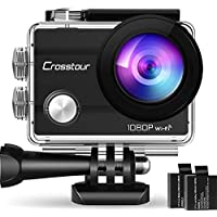 "Crosstour Wifi Action Camera Full HD 1080P Waterproof Cam 2"" LCD Screen 98ft Underwater 170° Wide-angle Sports Camera with 2 Rechargeable 1050mAh Batteries and 20 Mounting Accessory Kits"