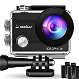 """Crosstour Wifi Action Camera Full HD 1080P Waterproof Cam 2"""" LCD Screen 98ft Underwater 170° Wide-angle Sports Camera with 2 Rechargeable 1050mAh Batteries and 20 Mounting Accessory Kits"""