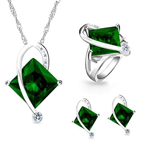 Uloveido Frauen Platin beschichtet erstellt Platz Smaragd Anhänger Halskette Clip auf Ohrringe Halo Ringe Hochzeit Schmuck Set (grün, Größe 49) T295 (Smaragd-schmuck Für Frauen)