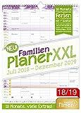 FamilienPlaner XXL 2018/2019 33x44cm, 7 Spalten, Wandkalender 18 Monate Juli 2018-Dezember 2019 - Wandplaner, Familienkalender, Ferientermine, viele Zusatzinfos