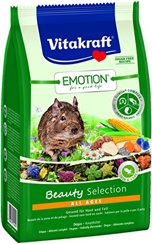 Vitakraft Alleinfutter für Degus, Gemüse, Luzerne, Blüten TriVita-Complex, Emotion Beauty Selection All Ages (5 x 600g) - Kornblume-extrakt