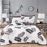 WONGS BEDDING Bettwäsche-Set mit tropischen Pflanzen, 3-teilig, wendbar, Bettbezug mit Reißverschluss, 1 Bettbezug mit 2 Kissenbezügen, Doppelbett