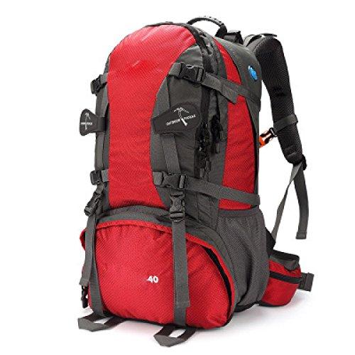 40L Borsa Da Montagna Da Campeggio Sci Nautico Viaggiare Viaggi Zaino Da Corsa All'aperto,Red Red