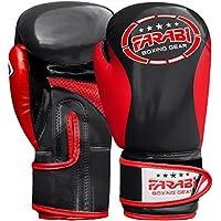 Farabi niños Boxeo Guantes, Junior Muay Thai Guantes de Entrenamiento, niños Saco de Boxeo Mitt (Negro/Rojo, 4oz)