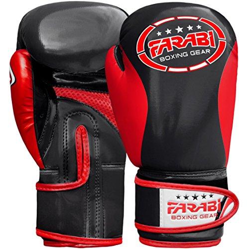 Farabi Kinder Boxhandschuhe, Junior Muay Thai Training Handschuhe, Kinder Boxsack mitt (Black/Red, 8-oz)