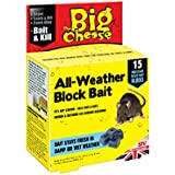 The Big Cheese All-Weather Block Bait (Moisture-Resistant Poison Bait, Kills Rodent Pests such as Mice and Rats) - 15 Blocks