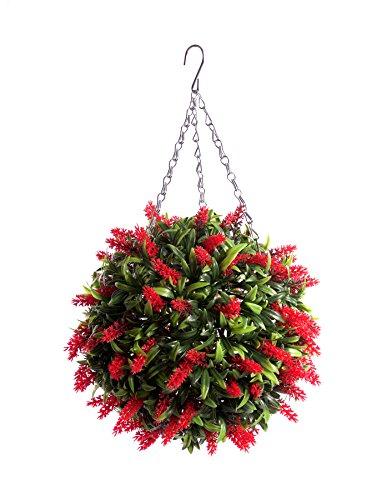 Best Artificial (TM) Lush rot lange Blätter, Lavendel zum Aufhängen Flower-Ball,Gras-Formschnitt * * UV-Schutz vor Verblassen * *