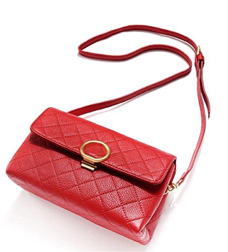 Xinmaoyuan Borse donna in vera pelle pacchetto Lingge obliqua di svago Mini Vacchetta morbida borsa a tracolla,vino rosso Rosso