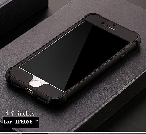 Ultra Slim Thin Custodia per iPhone 7Plus, MAOOY Luxury Hybrid 2in1 Soft TPU Silicone Back Cover e Hard PC Plastic Front Case con Utilizzo Completo per iPhone 7Plus, Case con Disegno Airbag Antiurto A Nero