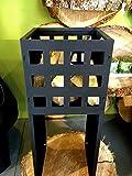 Antikas - Feuerkorb in modernem Design, Eisenkorb Korb für Feuer + Lagerfeuer Quadro klein