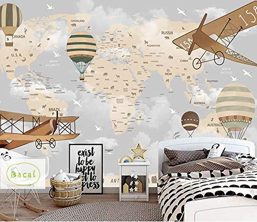 ZCHENG Weltkarte Flugzeug Feuer Ballon 3d Cartoon Tapete Wandbild für Baby Kinderzimmer 3d Wandbild Wanddeko 5D Cartoon Aufkleber @ 350x245_cm_ (137.8_by_96.5_in_) _