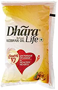 Dhara Life Refined Ricebran Oil Pouch, 1L