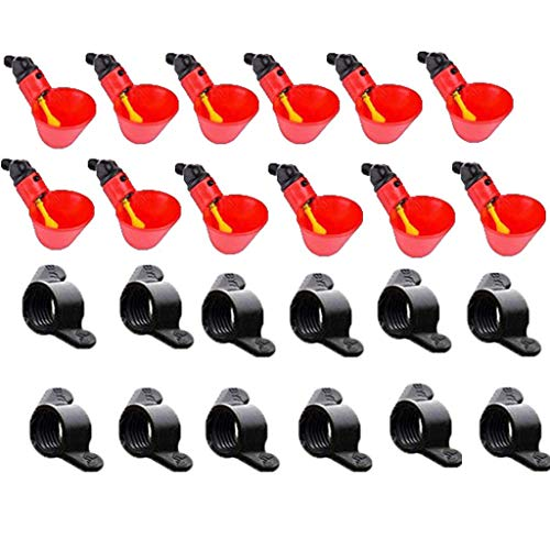 Automatic Plastic Bird Coop Poultry Chicken Fowl Drinker Water Drinking Cups SHSH 12Pcs Chicken Bird Drinker Cups Bowls