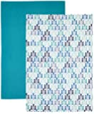 "Kitchen Craft ""Blue Leaf"" Patterned Cotton Tea Towels, Set of 2"