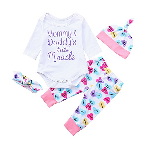 Kennella Baby Cotton Long Sleeve Brief Lieb Print Romper + Pants Vier Stück Set