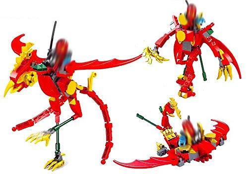 Modbrix 3in1 Bausteine roter Drachen Ninja Minifiguren Set, 123 teiliges Bausteine Set