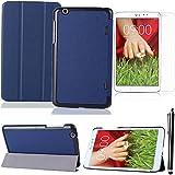 LG tablet cover case, Azul oscuro doble protección caso ultra delgada y ligera con Grano de Custer cuero funda y soporte para LG G-PAD 8.3 V500 protector carcasa + protectores de pantalla + Stylus pen