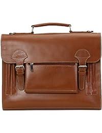 Brune Men Tan Color 100%genuine Leather Laptop Bag