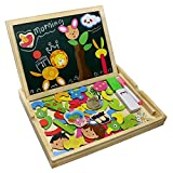 Best Toys For 3 To 5 Years Olds - Wooden Jigsaw Puzzles Double Sided Magnetic Writing Board Review