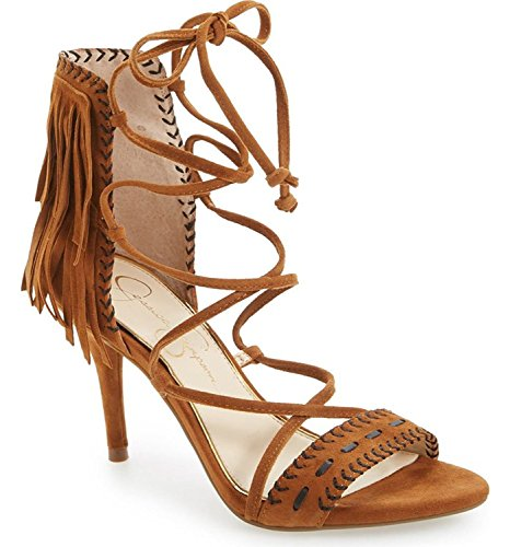 Jessica Simpson Mareya Spice Brown Fringe Ankle Tie Single Sole Sandal (7.5) (Tie Fringe)