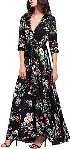 SEMIR Robes pour Femmes Mesdames Robes d'été Boho Manches Courtes Col en V Fleurs de Plage Robes Long Beach Robe Maxi Dress Bohème A-Ligne Party Dress Noir L