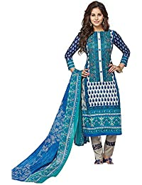 Baalar Women's Cotton Unstitched Dress Material (2009_Blue_Free Size By Onkar Trading)