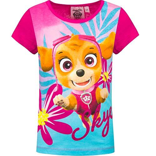 Paw patrol t-shirt maglia maglietta a maniche corte - full print - bambina - prodotto originale con licenza ufficiale 8841es [fucsia - 5 anni - 110 cm]