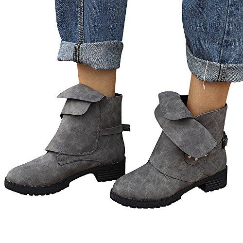 BHYDRY Schuhe Damen Ankle Booties Ritter MäDchen StraßE PersöNlichkeit Trendy Schnalle Volltonfarbe Martin Stiefel Niedrig Keil Flache Schuhe(36 EU,Grau)