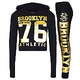 A2Z 4 Kids® Mädchen Top Kinder Designer BROOKLYN NEW YORK 76 ATHLETIC - Brklyn Hooded Crop Set Black Gold 13