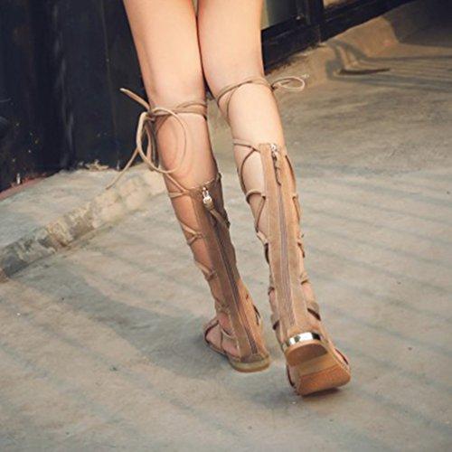 YOUJIA Damen Ausgeschnitten Kniehoch Gladiator Sandalen Flach Schnürschuhe Riemchen Sommerschuhe #1 Beige