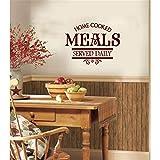 stickers muraux citations love Sticker Mural Cuisine Decor Repas Cuisinés À Domicile Servis Tous Les Jours pour la cuisine...