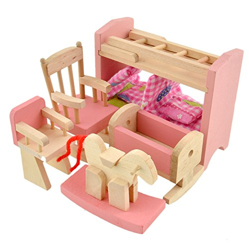 Sunsoar Wooden Doll Bathroom Furniture Dollhouse Miniature for Kids Toy (Beds) Birthday Chriamas New Year Gift Education Learning
