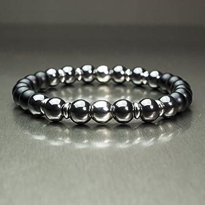 Taille 21-22cm BRACELET Homme Perles Ø 8mm pierre naturelle Agate noir mat (Onyx) Hématite Acier inoxydable/inox Bijoux qualité Fait main BRAGGATIS