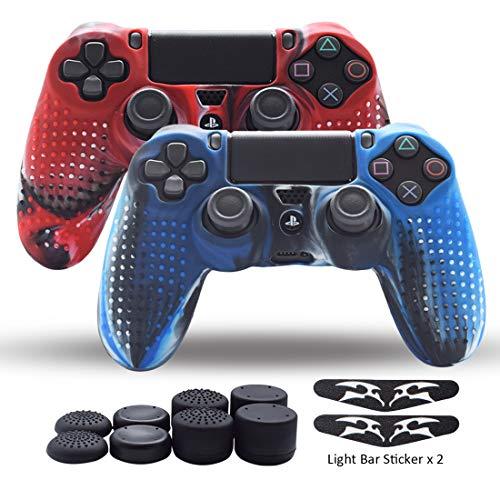 PS4 Controller Skin Silikon Grips für PlayStation 4 / PS4 / Slim / Pro Controller Pack 2 Anti-Rutsch-Hülle Schutzhülle für Dual Shock 4 Controller - Zwei Lichtstangen-Aufkleber - 8 Stück Pro Daumengriff-Nieten Camo Silikon Skin Pack