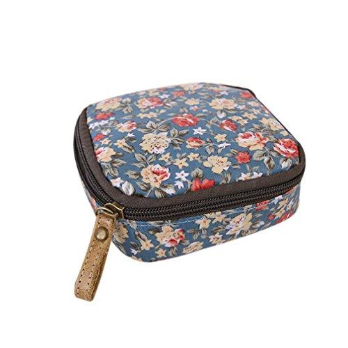 ODN Make-up Bag Klein Kosmetiktasche Schminktasche mit Reißverschluss Kulturbeutel Geldbeutel Beutel Tasche (Blumen)