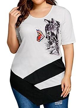 LuckyGirls Camisetas Mujer Originales Manga Corta Verano Mariposa Gato Estampado Irregular Remeras Blusa Camisas...