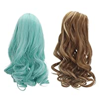 Perfeclan 2 Pieces Wavy Curly Hair Wig For 18inch DIY Making Accessory