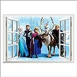 XXL Sticker Eiskönigin Frozen Elsa Anna Olaf Fenster Quer