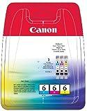 Canon Pack BCI-6C, 6M, 6Y Cartouche d'encre d'origine 3 Couleurs