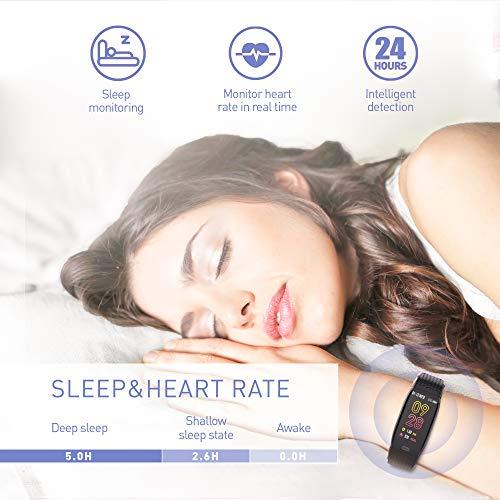 Imagen de jrear pulsera actividad inteligente, ip67 impermeable reloj deportivo con rtmo cardíaco, presión sanguínea, sueño monitor, contador y calorías para android y ios alternativa