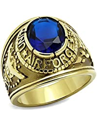 ISADY - US Air Force Gold Saphir - Men's Ring - Cubic Zirconia Blue