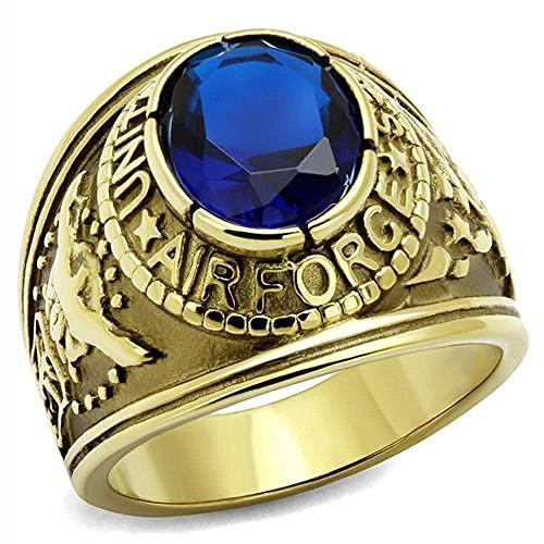 ISADY - US Air Force Saphir Gold Edelstahl - Herren-Ring - Edelstahl und 585er 14K Gold platiert - Zirkonium Blau - T 58 (18.5) - Herren-marine-ring